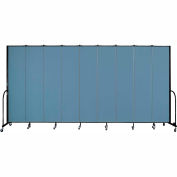 "Screenflex 9 Panel Portable Room Divider, 8'H x 16'9""L, Fabric Color: Summer Blue"