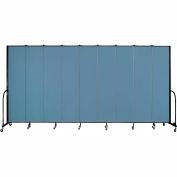 "Screenflex 9 Panel Portable Room Divider, 8'H x 16'9""L, Fabric Color: Summer Blue"