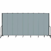"Screenflex 9 Panel Portable Room Divider, 8'H x 16'9""L, Fabric Color: Grey Stone"