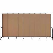 "Screenflex 9 Panel Portable Room Divider, 8'H x 16'9""L, Fabric Color: Beech"