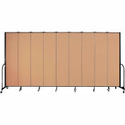 "Screenflex 9 Panel Portable Room Divider, 8'H x 16'9""L, Fabric Color: Wheat"