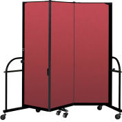 "Screenflex 3 Panel Heavy Duty Portable Room Divider - 6'H x 5' 9""L - Fabric Color: Red"