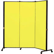 Healthflex Portable Medical Privacy Screen, 3-Panel, Primary Yellow