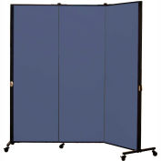 Healthflex Portable Medical Privacy Screen, 3-Panel, Vinyl Blue Tide