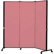 Healthflex Portable Medical Privacy Screen, 3-Panel, Vinyl Raspberry Mist