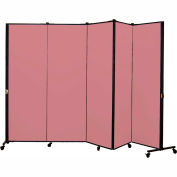 Healthflex Portable Medical Privacy Screen, 5-Panel, Vinyl Raspberry Mist
