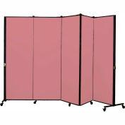Healthflex Portable Medical Privacy Screen, 5-Panel, Vinyl Raspberry Mist