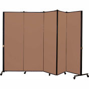 Healthflex Portable Medical Privacy Screen, 5-Panel, Vinyl Sandalwood