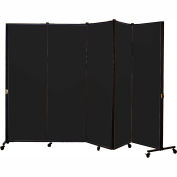 Healthflex Portable Medical Privacy Screen, 5-Panel, Vinyl Coal