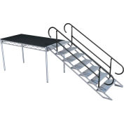 Steeldeck® ALUADJ78L 7 Step Adjustable Stair Unit With Rails, Aluminum