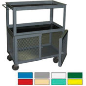 Securall® WC10 3-Tier Mobile Shop Cart with Padlockable Hasp Yellow
