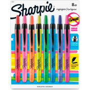 Sharpie® Accent Retractable Highlighter, Narrow Chisel Tip, Assorted Ink, 8/Set