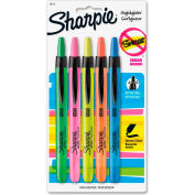 Sharpie® Accent Retractable Highlighter, Narrow Chisel Tip, Assorted Ink, 5/Set