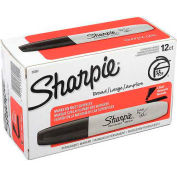 Sharpie® Permanent Marker, Chisel, Black Ink, Anti-Roll Barrel - Pkg Qty 12