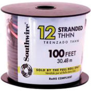 Southwire 22964152 Simpull Thhn Or Thwn-2, 12 Gauge Thhn Stranded Wire, Black, 100 Ft. Per Roll