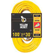 Coleman Cable 2888  Yellow Jacket 14/3 Sjtw 100 Ft. Extension Cord With Lighted Receptacle, Yellow