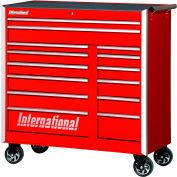"SPG International PRB-4214RD Professional 42"" 14-Drawer Roller Cabinet W/ Ball Bearing Slides, Red"