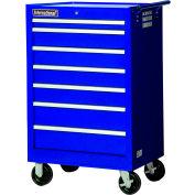 "SPG International VRB-2742BU 27"" 7-Drawer Roller Cabinet W/ Ball Bearing Slides, Blue"