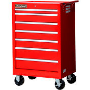 "SPG International VRB-2742RD 27"" 7-Drawer Roller Cabinet W/ Ball Bearing Slides, Red"