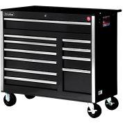 """SPG International VRB-4211BK 42"""" 11-Drawer Roller Cabinet W/ Ball Bearing Slides, Black"""