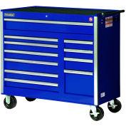 "SPG International VRB-4211BU 42"" 11-Drawer Roller Cabinet W/ Ball Bearing Slides, Blue"