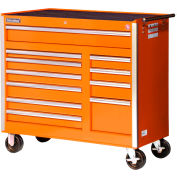 "SPG International VRB-4211OR 42"" 11-Drawer Roller Cabinet W/ Ball Bearing Slides, Orange"