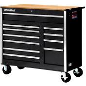 "SPG International VRB-4211WTBK 42"" 11Drawer Roller Cabinet With Wood Top W/Ball Bearing Slides Black"