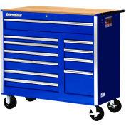 "SPG International VRB-4211WTBU 42"" 11Drawer Roller Cabinet With Wood Top W/ Ball Bearing Slides Blue"