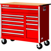 """SPG International VRB-4211WTRD 42"""" 11-Drawer Roller Cabinet With Wood Top W/ Ball Bearing Slides Red"""