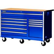 "SPG International VRB-5610WTBU 56"" 10-Drawer Roller Cabinet W/ Wood Top W/ Ball Bearing Slides, Blue"
