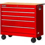 "SPG International WRB-4205WTRD 42"" 5-Drawer Cabinet W/ WoodTop W/ Ball Bearing Slides Roller, Red"