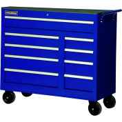 "SPG International WRB-4209BU 42"" 9-Drawer Roller Cabinet W/ Ball Bearing Slides, Blue"