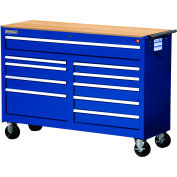 "SPG International WRB-5410WTBU 54"" 10-Drawer Roller Cabinet W/ WoodTop W/ Ball Bearing Slides, Blue"