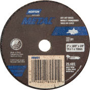 "Norton 07660789451 Metal Small Diameter Cut-Off Wheel 3"" x .035"" x 3/8"" 60 Grit Alum. Oxide Type 1 - Pkg Qty 25"