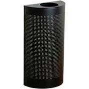 Rubbermaid® Silhouette SH12E Half Round Open Top Receptacle w/Plastic Liner, 12 Gallon - Black