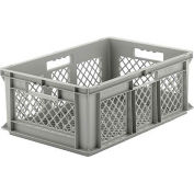 "SSI Schaefer Euro-Fix Mesh Container EF6223 - 24"" x 16"" x 8"", Gray - Pkg Qty 6"