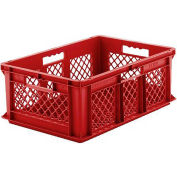 """SSI Schaefer Euro-Fix Mesh Container EF6223 - 24"""" x 16"""" x 8"""", Red - Pkg Qty 6"""