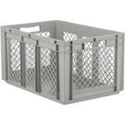 """SSI Schaefer Euro-Fix Solid Base/Mesh Sides Container EF6321 - 24"""" x 16"""" x 13"""", Gray - Pkg Qty 4"""
