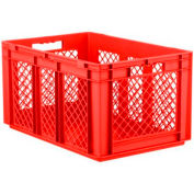 "SSI Schaefer Euro-Fix Solid Base/Mesh Sides Container EF6321 - 24"" x 16"" x 13"", Red - Pkg Qty 4"