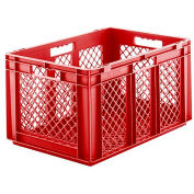 """SSI Schaefer Euro-Fix Mesh Container EF6323 - 24"""" x 16"""" x 13"""", Red - Pkg Qty 4"""