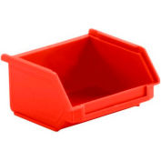 SSI Schaefer  LF040402.0RD1 - 4 x 4 x 2 LF Hopper Front Plastic Stacking Bin, Red,
