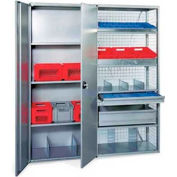 "R3000 Steel Shelving W/Six Shelves, 85""H Starter Unit, Solid Panels W/Cross Brace, Closed"