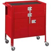 "Deluxe Technician Cart-Portable Cart, 29-1/4""W x 18-1/4""D x 34""H-Carmine Red"