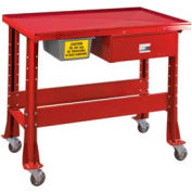 "Standard Tear-Down/Fluid Containment Bench-Portable, 48""W x 32""D-Carmine Red"