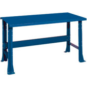 "Shureshop® bench-stationary, painted steel top, 60"" x 29""-Monaco Blue"