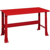 "Shureshop® bench-stationary, painted steel top, 72"" x 29""-Carmine Red"