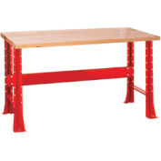 "Shureshop® bench-stationary, maple top, 72"" x 30""-Carmine Red"