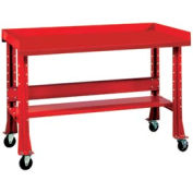 """Shureshop® bench w/acc kit-portable,painted steel top,60"""" x 29""""-Carmine Red"""