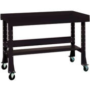 "Shureshop® bench w/acc kit-portable,painted steel top,60"" x 29""-Gloss Black"