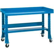 "Shureshop® Portable Workbench w/ Butcher Block Square Edge Top, 60""W x 30""D x 29-40""H, Blue"